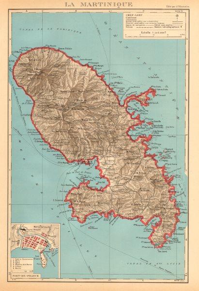 Associate Product MARTINIQUE. Fort-de-France plan. Antilles françaises French West Indies 1938 map