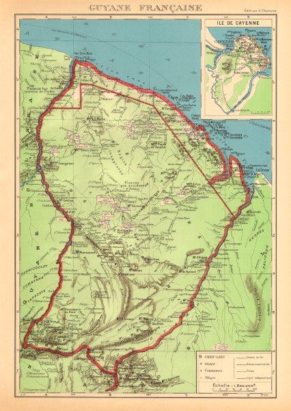 Associate Product FRENCH GUIANA. Guyane Française. Île de Cayenne plan 1938 old vintage map