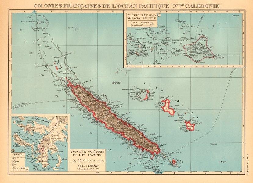 Associate Product NEW CALEDONIA. Nouvelle Caledonie. Loyalty Islands/Îles Loyauté. Nouméa 1938 map