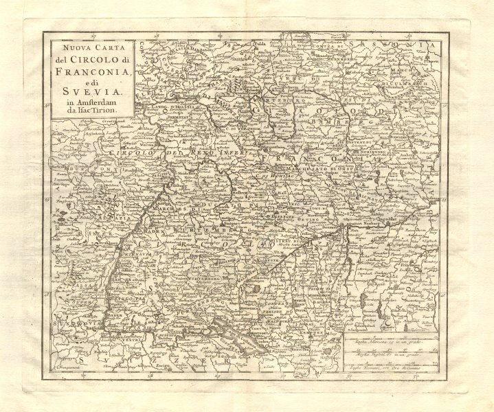 Associate Product 'Nuova Carta del Circolo di Franconia, e di Svevia' by Isaak TIRION 1740 map