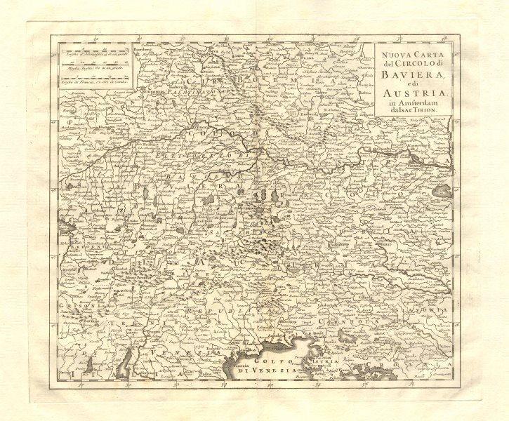 Associate Product 'Nuova Carta del Circolo di Baviera e di Austria by Isaak TIRION 1740 old map