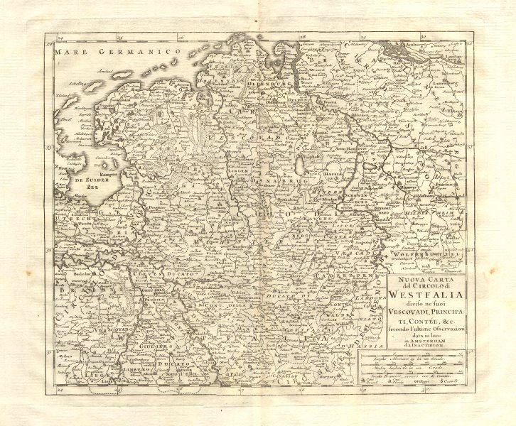 Associate Product 'Nuova Carta del Circolo di Westfalia', by Isaak TIRION 1740 old antique map
