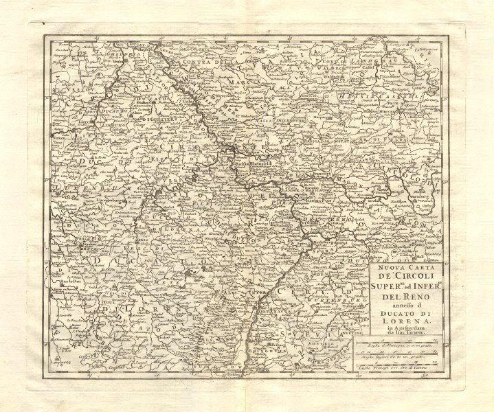 Associate Product 'Nuova Carta de Circolo … del Reno [&] ducato di Lorena'. Isaak TIRION 1740 map