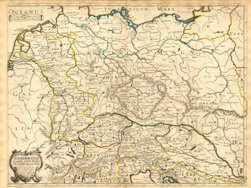 'La Germanie en quatre grands peuples' by Nicholas SANSON 1651 old antique map