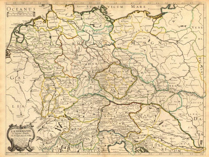Associate Product 'La Germanie en moyens peuples' by Nicholas SANSON. Central Europe 1651 map
