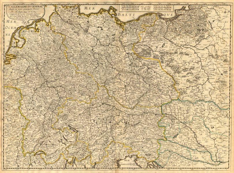 Associate Product 'L'Allemagne en General divisée en trois principales parties'. N SANSON 1645 map