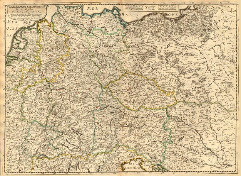 Associate Product 'L'Allemagne par archeves. Chés et Eveschés' by Nicholas SANSON 1645 old map