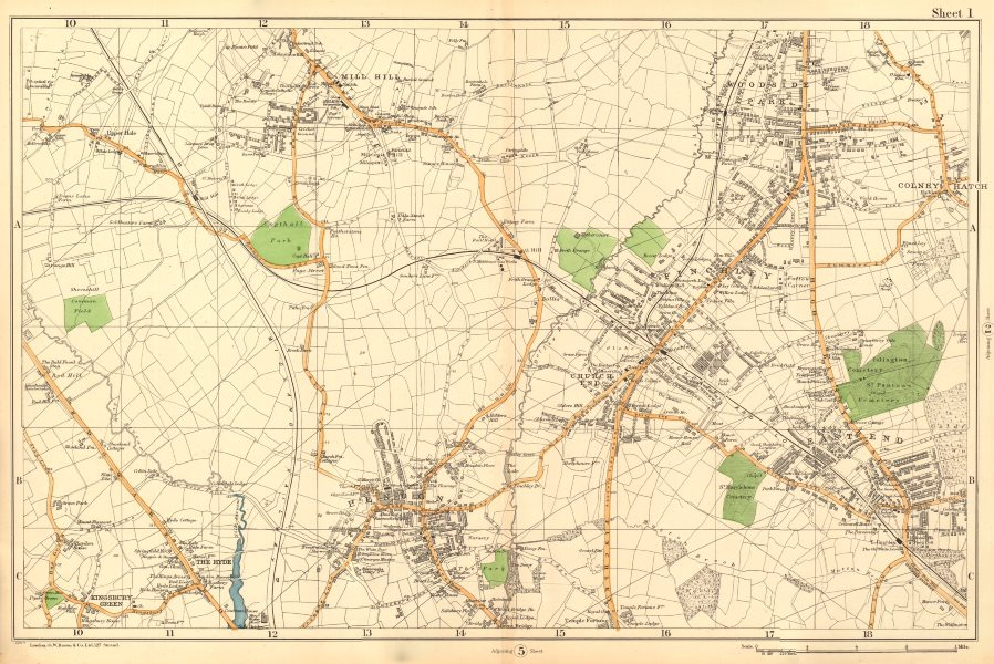 Associate Product FINCHLEY/HENDON Mill Hill Colindale Colney Hatch Fortis Green. BACON  1903 map