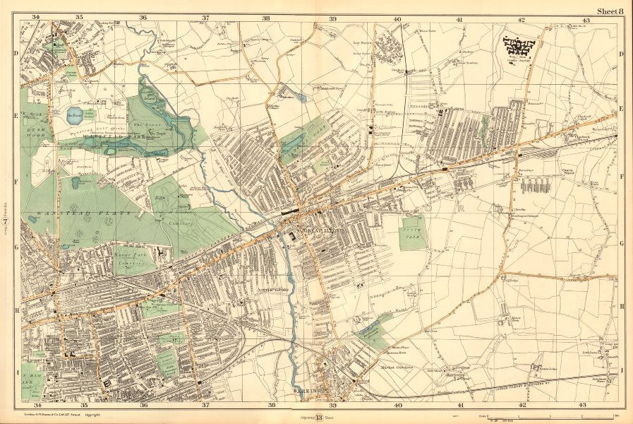 Associate Product WANSTEAD ILFORD BARKING Forest Gate Seven Kings Chadwell Heath. BACON  1903 map