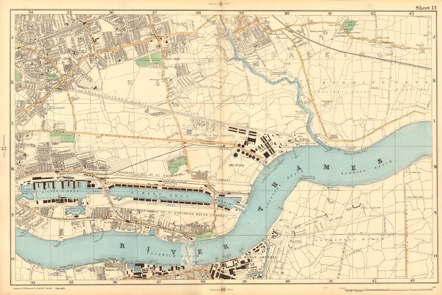 Associate Product WEST/EAST HAM & BARKING Plaistow Woolwich Thamesmead Beckton. BACON  1903 map