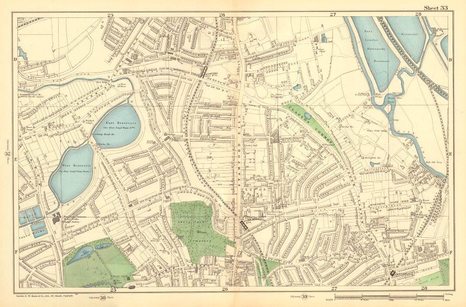 Associate Product STOKE NEWINGTON Upper Clapton Stamford Hill Tottenham Manor House 1903 old map