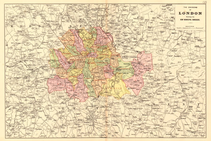 Associate Product GREATER LONDON ENVIRONS. Showing new Municipal Boroughs. BACON 1903 old map