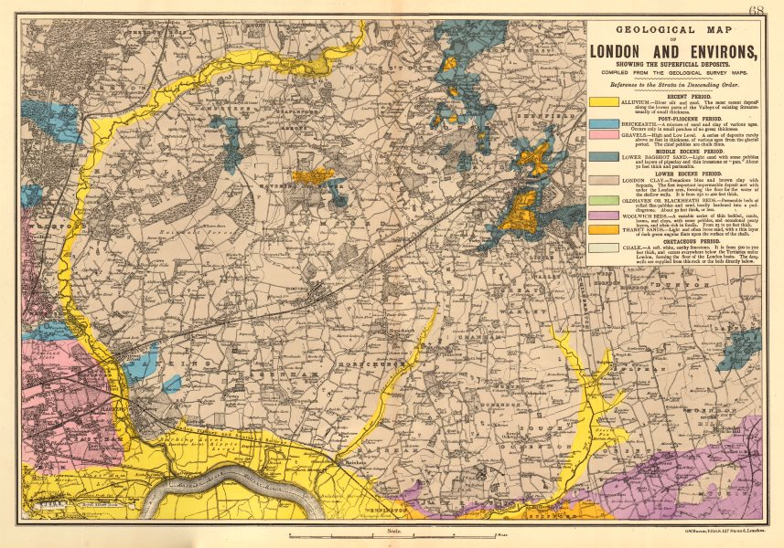 Associate Product NE LONDON GEOLOGICAL Essex Redbridge Newham Barking Dagenham &c.BACON 1903 map