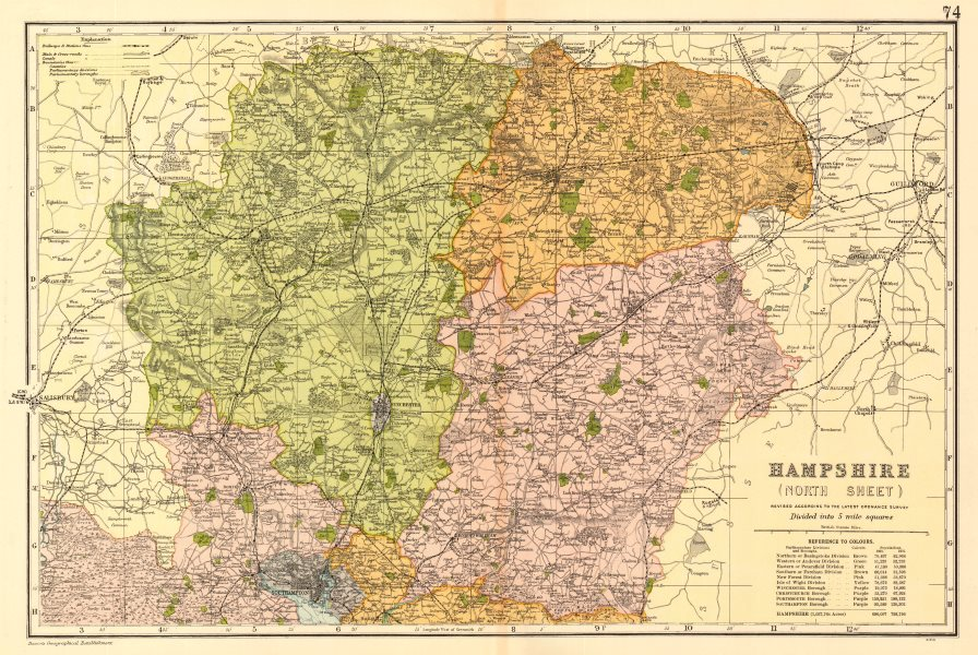 Associate Product HAMPSHIRE NORTH Parliamentary constituencies divisions.Railways.BACON 1903 map