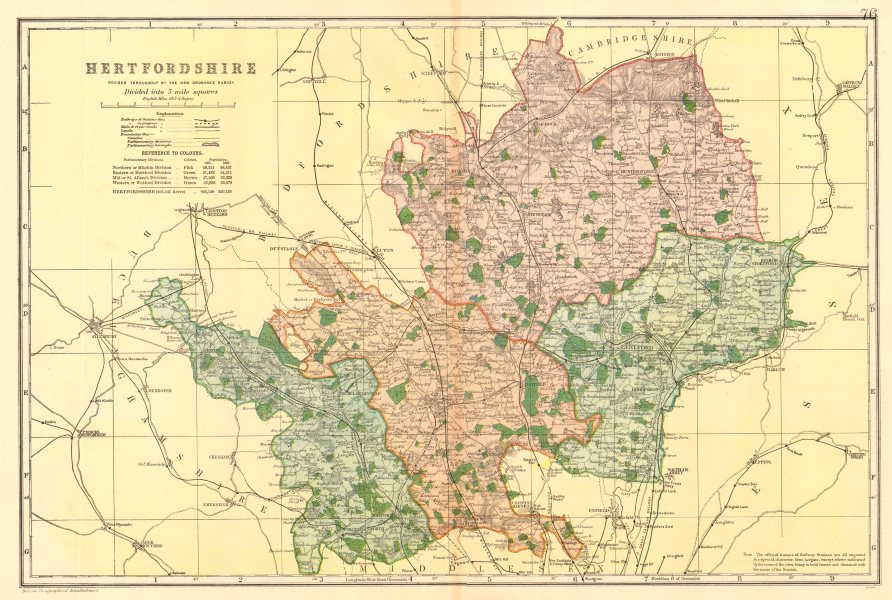Associate Product HERTFORDSHIRE county map. Parliamentary constituencies. Railways. BACON 1903