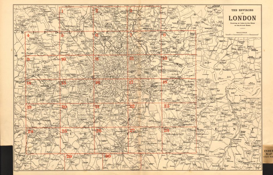 Associate Product GREATER LONDON ENVIRONS. General Index map to 4 inch scale maps. BACON 1903