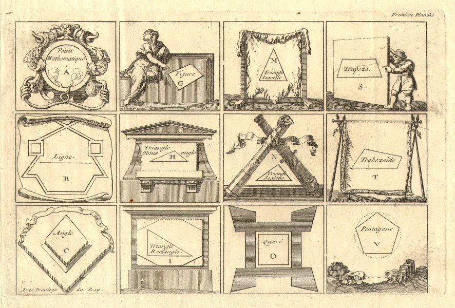 Associate Product 'Premiere Planche'. Geometric shapes and polygons. DE FER 1705 old print