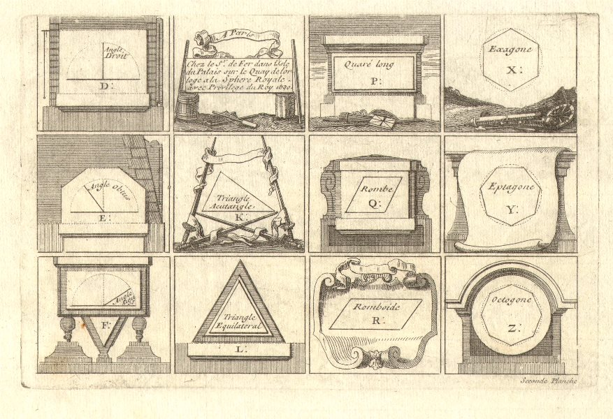 Associate Product 'Seconde Planche'. Geometric shapes and polygons. DE FER 1705 old print