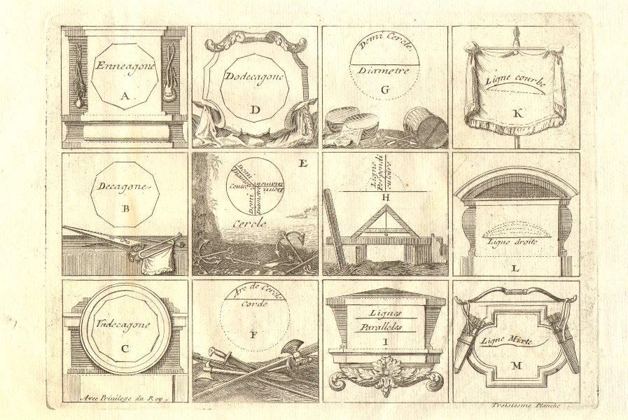 'Troisiesme Planche'. Geometric shapes and polygons. DE FER 1705 old print