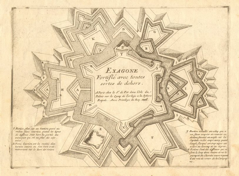 Associate Product 'Exagone fortifié'. Fortified defensive hexagon. DE FER 1705 old antique print