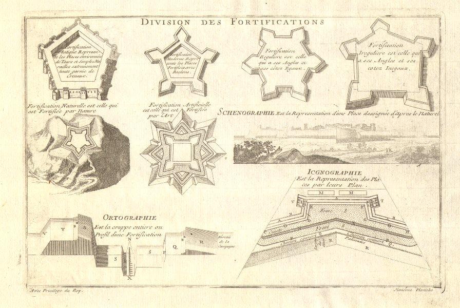 Associate Product Division des Fortifications. Schenographie Icgnographie Ortographie. DE FER 1705