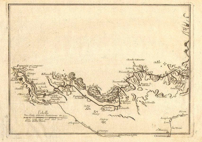 Associate Product Canal de l'Eure 1. Pontgouin - Courville - Berchères. Chartres. DE FER 1705 map