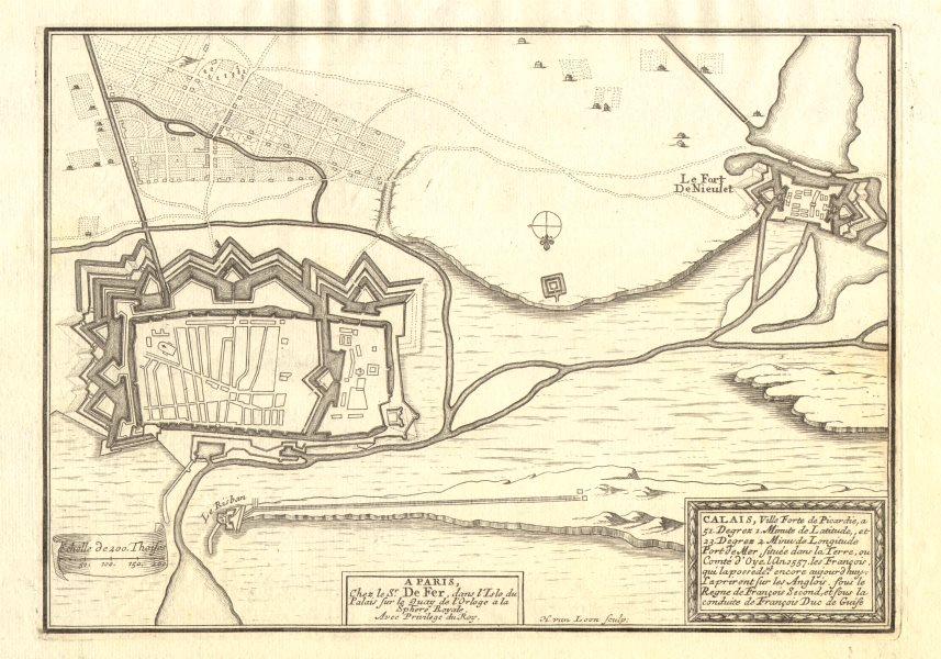 Associate Product 'Calais' town/city plan. Fort de Nieulet. Le Risban. DE FER 1705 old map