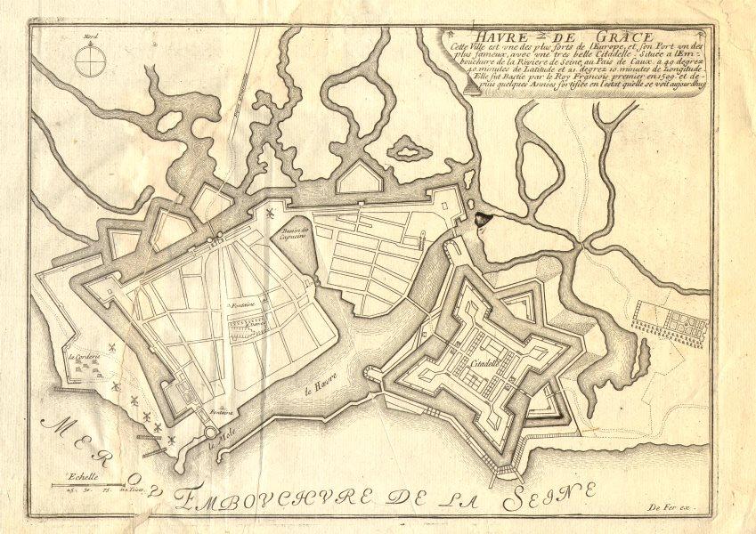 'Havre de Grace'. Le Havre town/city plan. Seine-Maritime. DE FER 1705 old map