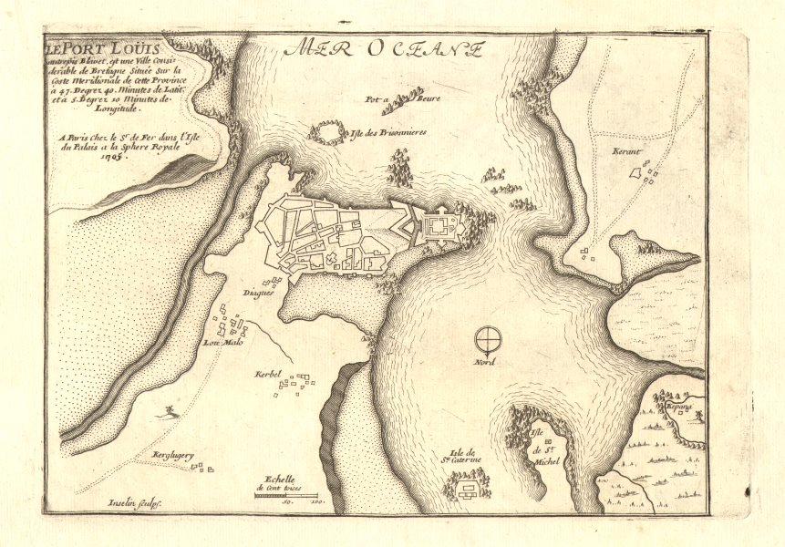 Associate Product 'Le Port Louis'. Port-Louis. Fortified town/city plan. Morbihan. DE FER 1705 map