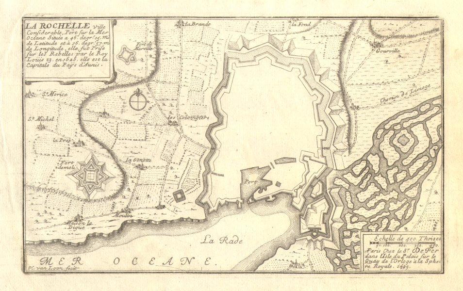 Associate Product 'La Rochelle'. Fortifed town/city plan. Charente-Maritime. DE FER 1705 old map