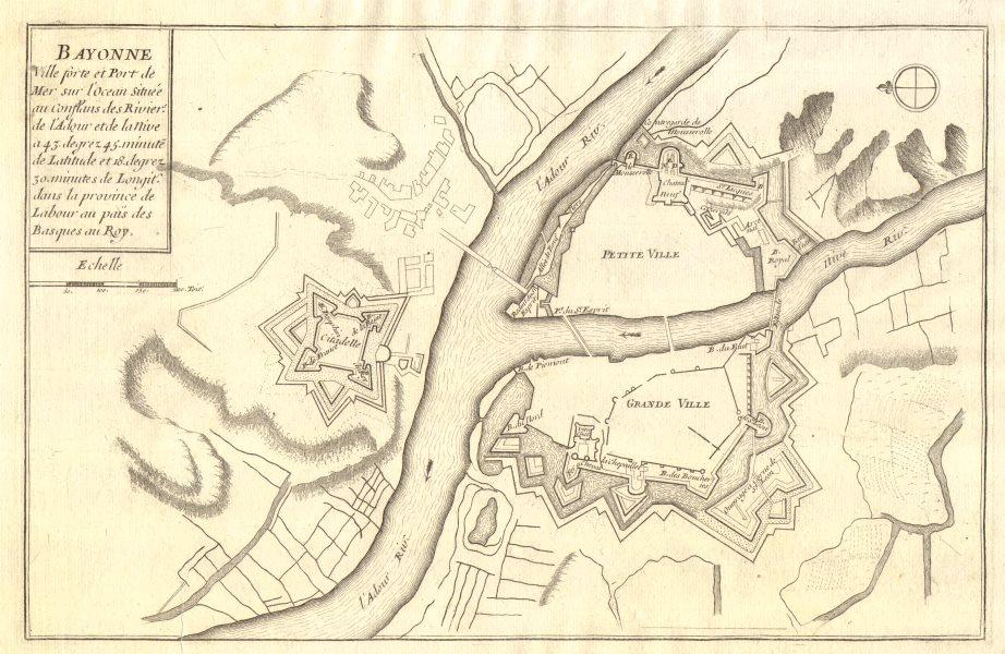 Associate Product 'Bayonne'. Fortifed town/city plan. Pyrénées-Atlantiques. DE FER 1705 old map