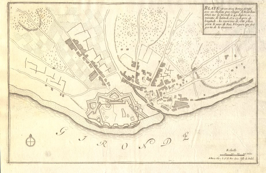 Associate Product Blaye. Plan of town/city & fortifications. Gironde. DE FER 1705 old map