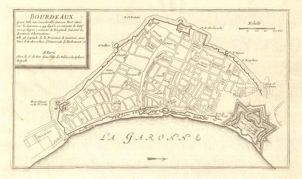 Associate Product 'Bourdeaux'. Fortifed town/city plan. Bordeaux, Gironde. DE FER 1705 old map