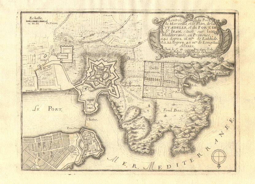 Associate Product 'L'entrée du Port de Marseille'. Citadelle & Fort Saint Jean. DE FER 1705 map