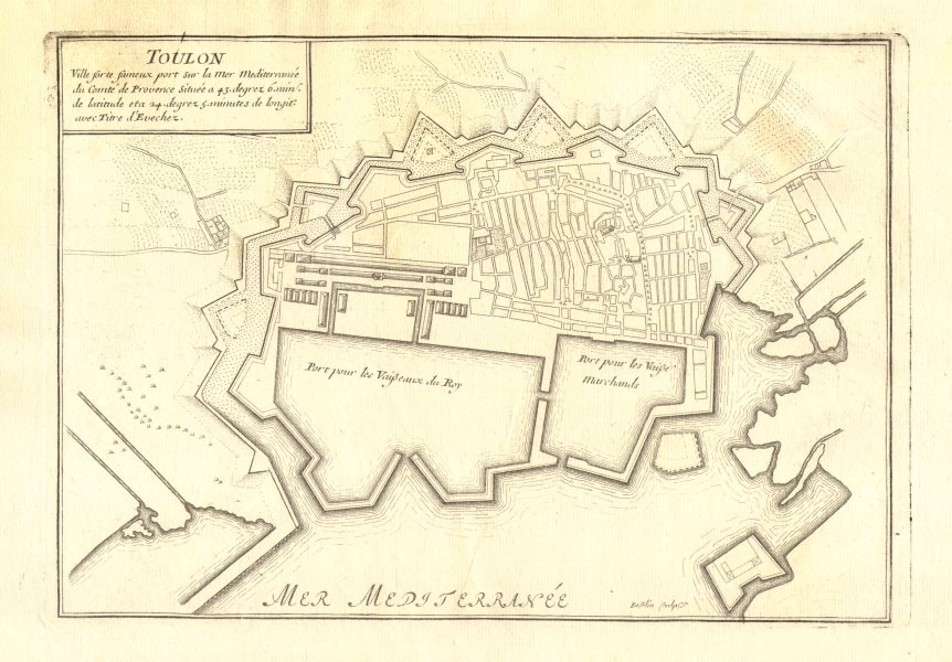 Details about Toulon. Plan of town/city & fortifications. Var. DE FER 1705  old antique map