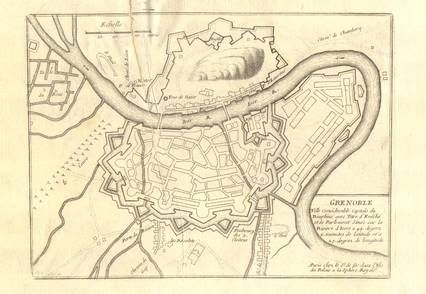 Associate Product Grenoble. Plan of town/city & fortifications. Isère. DE FER 1705 old map