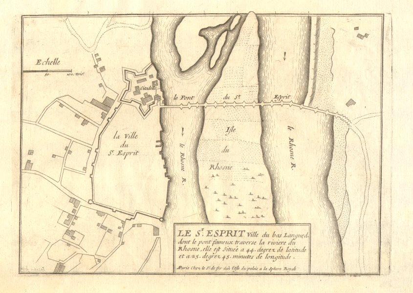 'Le St. Esprit'. Pont-Saint-Esprit, Gard. Town/city plan. DE FER 1705 old map
