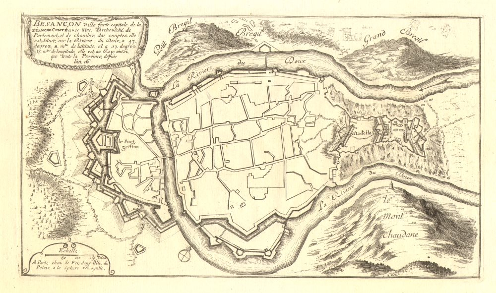Associate Product Besançon. Plan of town/city & fortifications. Doubs. DE FER 1705 old map