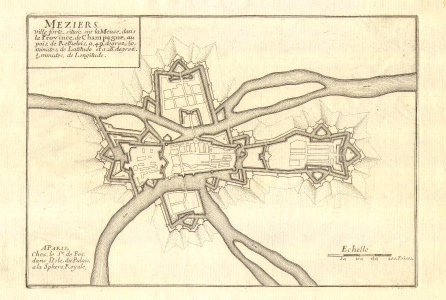 Associate Product 'Meziers'. Charleville-Mézières town/city plan. Ardennes. DE FER 1705 old map