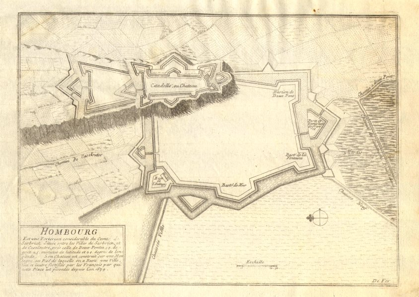 Associate Product 'Hombourg'. Hombourg-Haut. Fortifed town/city plan. Moselle. DE FER 1705 map
