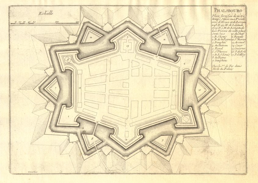 Associate Product Phalsbourg. Plan of town/city & fortifications. Moselle. DE FER 1705 old map