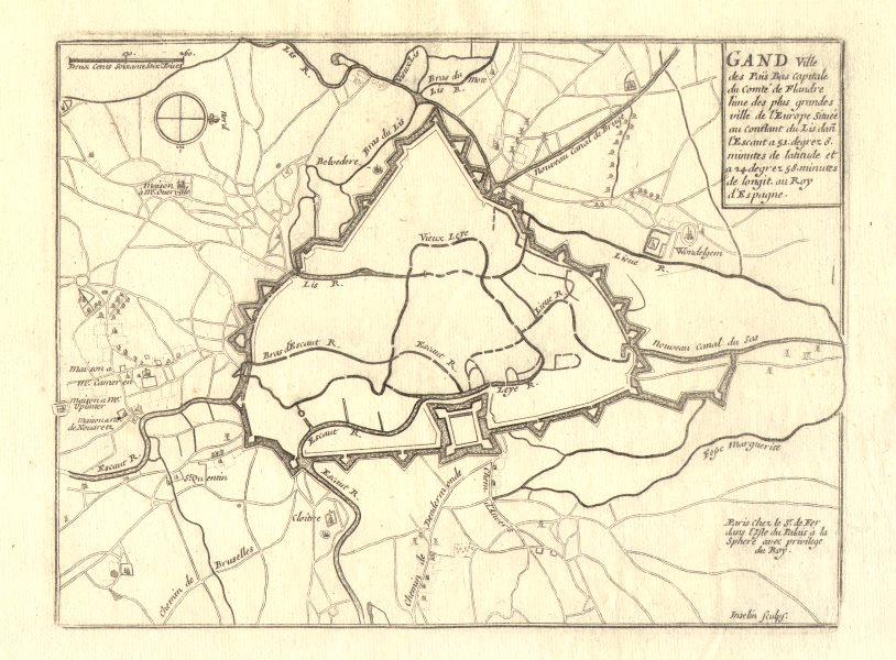 Associate Product 'Gand'. Ghent. Plan of town/city & fortifications. Belgium. DE FER 1705 map