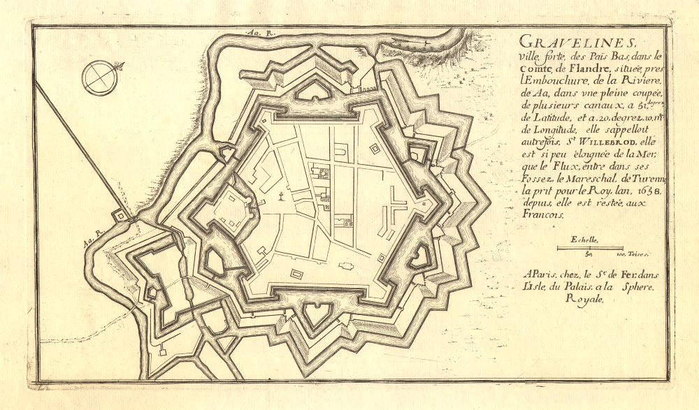 Associate Product Gravelines. Plan of town/city & fortifications. Nord. DE FER 1705 old map