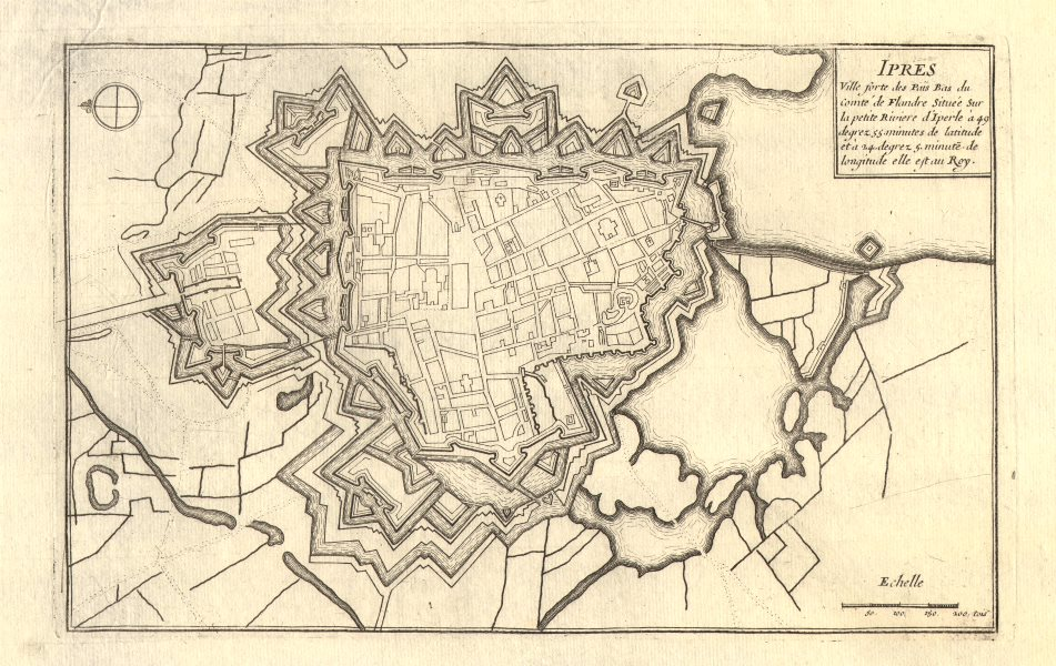 Associate Product 'Ipres'. Ypres. Plan of town/city & fortifications. Belgium. DE FER 1705 map