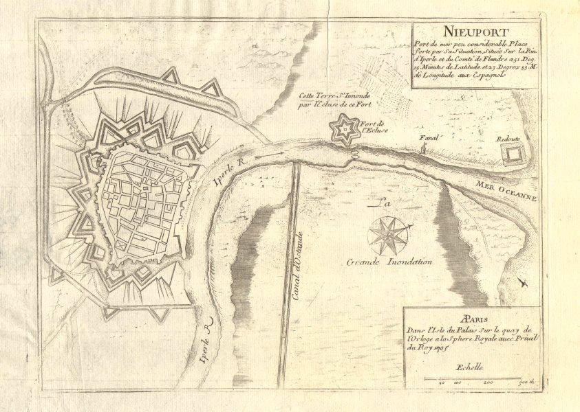 Associate Product 'Nieuport'. Nieuwpoort. Fortifed town/city plan. Belgium. DE FER 1705 old map