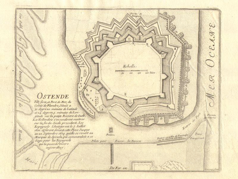 Associate Product 'Ostende'. Oostende/Ostend. Fortifed town/city plan. Belgium. DE FER 1705 map
