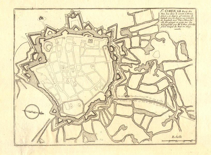 'St. Omer'. Saint-Omer. Fortified town/city plan. Pas de Calais. DE FER 1705 map