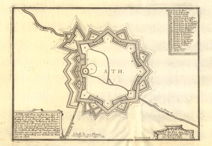 Associate Product Ath, Belgium. Plan of town/city & fortifications. DE FER 1705 old antique map