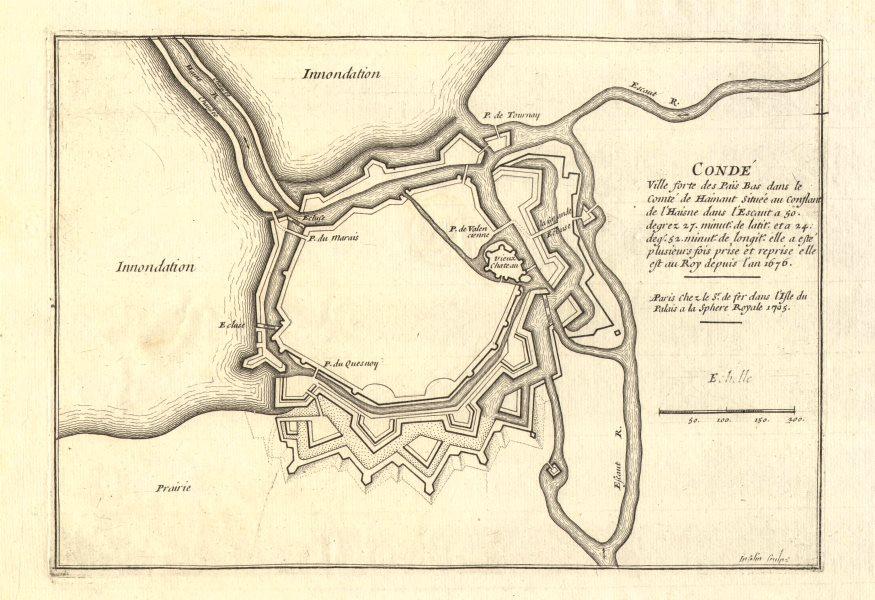Associate Product Condé-sur-l'Escaut. Plan of town/city & fortifications. Nord. DE FER 1705 map