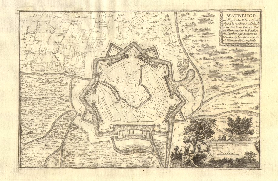 Associate Product Maubeuge. Plan of town/city & fortifications. Nord. DE FER 1705 old map